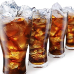 glasses of cola with ice cubes